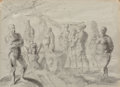 Fine Art - Work on Paper, Reginald Marsh (American, 1898-1954). Beach Scenes(double-sided work), 1948. Ink and wash on paper. 22 x 30 inches(55....
