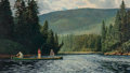 Fine Art - Painting, American, Peter Corbin (American, b. 1945). Heading for Quiet Water.Oil on canvas. 24 x 40 inches (61.0 x 101.6 cm). Signed lower...