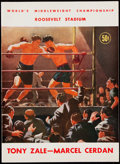 Boxing Collectibles:Memorabilia, 1948 Zale vs. Cerdan Program and Two Full Tickets.... (Total: 3 item)