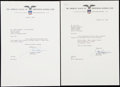 Autographs:Letters, 1963-66 Joe Cronin Signed Document Lot of 2.... (Total: 2 items)