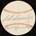 Autographs:Index Cards, 1950s Will Harridge & Tom Connolly Signed Baseball Cut. ...