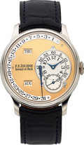 Timepieces:Wristwatch, F.P. Journe, Very Rare Platinum Octa Reserve De Marche, Brass Movement, No. 026-03Q, Circa 2000. ...