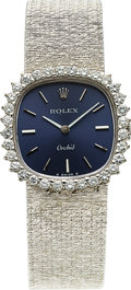 Timepieces:Wristwatch, Rolex, Very Fine Ladies Orchid, 18K White Gold and Diamond, Ref. 2672, Circa 1975. ...