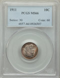 Barber Dimes: , 1911 10C MS66 PCGS. PCGS Population: (100/22). NGC Census: (45/10). MS66. Mintage 18,870,544. ...