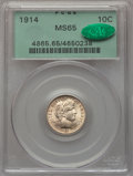 Barber Dimes: , 1914 10C MS65 PCGS. CAC. PCGS Population: (177/79). NGC Census: (132/37). MS65. Mintage 17,360,656. ...
