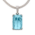 Estate Jewelry:Pendants and Lockets, Aquamarine, Diamond, White Gold Pendant-Necklace
