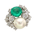 Estate Jewelry:Rings, Colombian Emerald, Diamond, Cultured Pearl, Platinum Ring, Marianne Ostier . ...