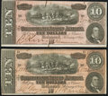 Confederate Notes:1864 Issues, T68 $10 1864 Two Examples Fine-Very Fine or better.. ... (Total: 2 notes)