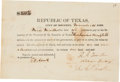 Autographs:Military Figures, Thomas Rusk: Signed Promissory Note....