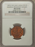 India:British India, India: British India. Madras Presidency 2 Pies AH 1240 (1825) MS64 Red and Brown NGC,...