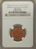 India:British India, India: British India. Madras Presidency 2 Pies AH 1240 (1825) MS63 Red and Brown NGC,...