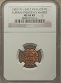 India:British India, India: British India. Madras Presidency Pie AH 1240 (1825) MS64 Red and Brown NGC,...