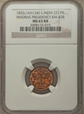 India:British India, India: British India. Madras Presidency Pie AH 1240 (1825) MS63 Red and Brown NGC,...