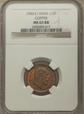 India:British India, India: British India. Edward VII copper 1/2 Pice 1906 MS63 Red and Brown NGC,...