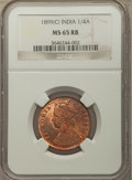 India:British India, India: British India. Victoria 1/4 Anna 1899-(c) MS65 Red and Brown NGC,...
