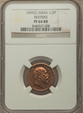 India:British India, India: British India. Edward VII Proof Restrike 1/2 Pice 1909-(c) PR64 Red and Brown NGC,...