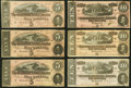 Confederate Notes:1864 Issues, T68 $10 1864, Three Examples Very Fine or Better;. T69 $5 1864, Three Examples Very Fine or Better.. ... (Total: 6 notes)