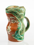 Prints & Multiples:Contemporary (1950 to present), Pablo Picasso (1881-1973). Visage de femme, 1953. White earthenware ceramic pitcher, partially engraved, with colored en...