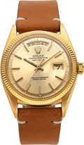 Timepieces:Wristwatch, Rolex, 18k Gold Oyster Perpetual Day-Date, Ref. 6611, With Bureaux Suisse Timing Paper, circa 1950's. ...