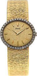 Timepieces:Wristwatch, Piaget, Ladies 18K Yellow Gold and Diamond Dress Watch, ManualWind, Ref. 9806 A6, Circa 1970s. ...
