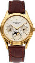 Timepieces:Wristwatch, Patek Philippe, Ref. 3940J Calatrava,18k Gold Automatic PerpetualCalendar With Moon Phase, Circa 1985. ...