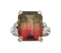 Estate Jewelry:Rings, Parti-Color Tourmaline, Diamond, Platinum, Gold Ring. ...