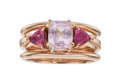Estate Jewelry:Rings, Pink Sapphire, Platinum, Rose Gold Ring . ...