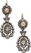 Estate Jewelry:Earrings, Georgian Diamond, Natural Pearl, Silver-Topped Gold Earrings. ...