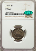 Proof Shield Nickels: , 1879 5C PR66 NGC. CAC. NGC Census: (126/15). PCGS Population: (82/16). CDN: $775 Whsle. Bid for problem-free NGC/PCGS PR66....