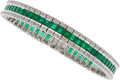 Estate Jewelry:Bracelets, Emerald, Diamond, White Gold Bracelet. ...