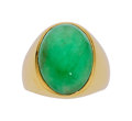Estate Jewelry:Rings, Gentleman's Jadeite Jade, Gold Ring. ...
