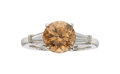 Estate Jewelry:Rings, Zircon, Diamond, Platinum Ring. ...