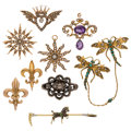 Estate Jewelry:Brooches - Pins, Victorian Diamond, Multi-Stone, Cultured Pearl, Seed Pearl, Enamel, Gold, Silver, Metal Brooches. ... (Total: 9 Items)