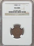 Indian Cents: , 1908-S 1C VG8 NGC. NGC Census: (62/2867). PCGS Population: (86/4271). CDN: $75 Whsle. Bid for problem-free NGC/PCGS VG8 . M...