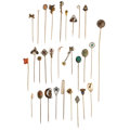 Estate Jewelry:Brooches - Pins, Diamond, Multi-Stone, Cultured Pearl, Seed Pearl, Enamel, Platinum-Topped Gold, Gold, Metal Stick Pins. ... (Total: 29 Items)