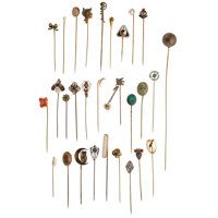 Diamond, Multi-Stone, Cultured Pearl, Seed Pearl, Enamel, Platinum-Topped Gold, Gold, Metal Stick Pins