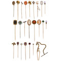 Estate Jewelry:Other, Multi-Stone, Diamond, Enamel, Gold, Metal Stick Pins. ... (Total: 24 Items)