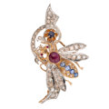 Estate Jewelry:Brooches - Pins, Diamond, Ruby, Sapphire, Gold Brooch. ...
