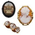 Estate Jewelry:Lots, Black Onyx, Micromosaic, Shell Cameo, Gold, Base Metal Jewelry. ... (Total: 3 Items)