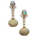 Estate Jewelry:Earrings, Opal, Diamond, Gold Earrings. ... (Total: 2 Items)