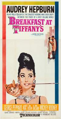 "Breakfast at Tiffany's (Paramount, 1961). Folded, Very Fine-. Three Sheet (41"" X 79""). Robert McGinnis Artwork..."