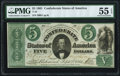 Confederate Notes:1861 Issues, T33 $5 1861 PF-7 Cr. 254Ba PMG About Uncirculated 55 EPQ.. ...