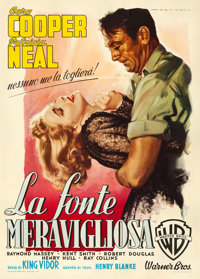 "The Fountainhead (Warner Brothers, 1949). Fine+ on Linen. Italian 2 - Fogli (39.5"" X 55"") Luigi Martinati Artw..."