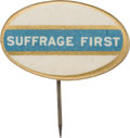 Political:Pinback Buttons (1896-present), Woman's Suffrage: Rare Oval Slogan Button.. ...