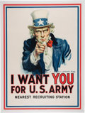 Military & Patriotic:WWI, World War I Uncle Sam Patriotic Poster by James Montgomery Flagg, 1917. ...