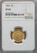 Three Dollar Gold Pieces: , 1854 $3 XF45 NGC. NGC Census: (272/3752). PCGS Population: (314/3072). XF45. Mintage 138,618. ...