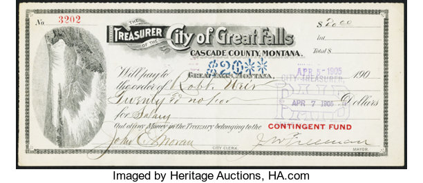 Great Falls, MT - Treasurer of the City of Great Falls $20 Apr