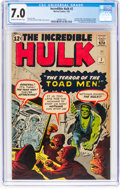 Silver Age (1956-1969):Superhero, The Incredible Hulk #2 (Marvel, 1962) CGC FN/VF 7.0 Cream to off-white pages....