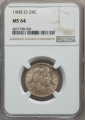 Barber Quarters, 1905-O 25C MS64 NGC. The 1905-O is a slightly bett...