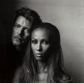 Photographs:Gelatin Silver, Irving Penn (American, 1917-2009). Iman and David Bowie, 1994. Gelatin silver. 15 x 15 inches (38.1 x 38.1 cm). Photogra...